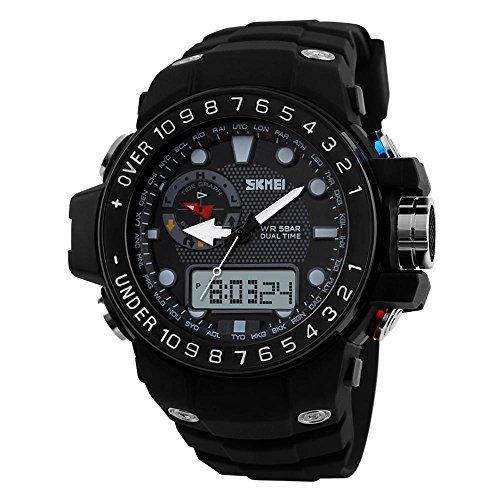 fanmis Sport Uhren wasserdicht Multifunktions Klettern Tauch LCD Digital Analog schwarz Harz Gurt Uhr