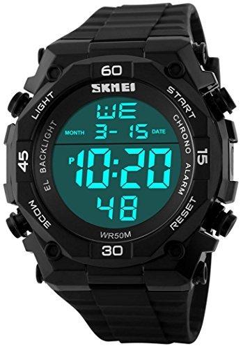 fanmis Wasserdicht LED Uhren Outdoor Sports Digitale Display multifunktional Militaer Armbanduhr Schwarz