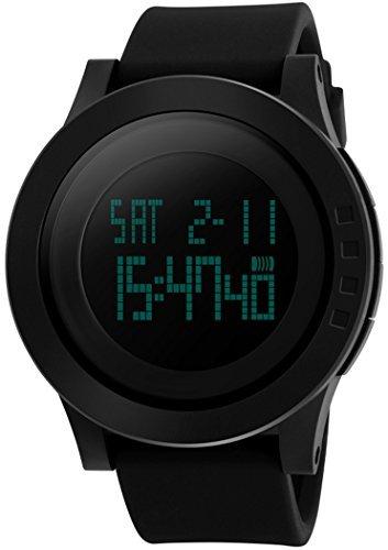 fanmis Herren s 50 m Wasserdicht Silikon Gurt schwarz LCD Digital Multifunktions Alarm Stoppuhr Sportuhr