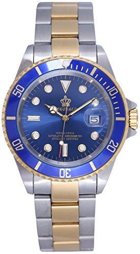 fanmis blau Zifferblatt drehbare Luenette Saphirglas Luminous Quarz Silber Gold Zwei Ton Armbanduhr