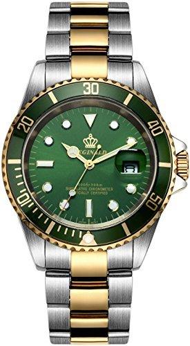 fanmis gruen Zifferblatt drehbare Luenette Saphirglas Luminous Quarz Silber Gold Zwei Ton Armbanduhr
