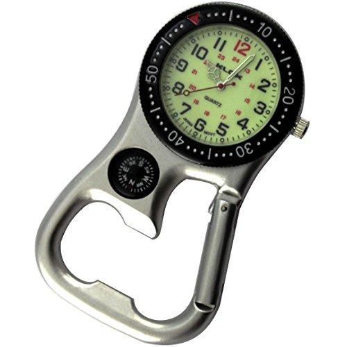 Backpacker Guertel Taschenuhr Silber Ton mit Kompass und Flaschenoeffner