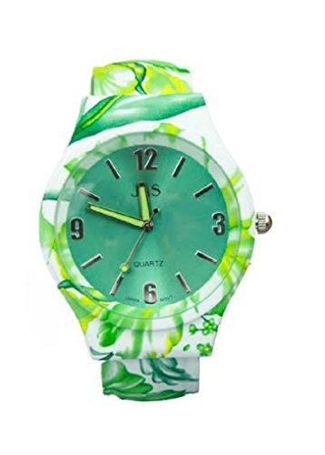 Damen gruen Blumenmuster Schoenes rundes Gesicht Armband Armreif Uhr mit zusaetzlichen Akku