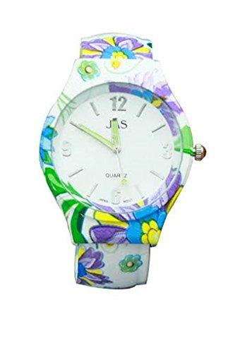 Damen florale Muster mehrfarbiger Schoenes rundes Gesicht Armband Armreif zusaetzliche Uhrenbatterie