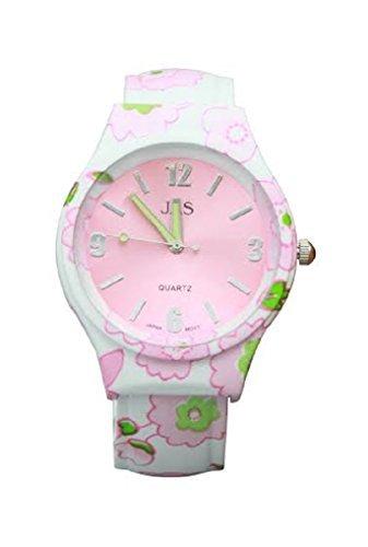 Damen florale Muster Rosa gruen schoene Runde Gesicht Armband Armreif Uhr