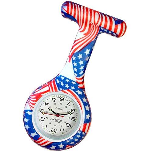 USA Flagge gemustert Krankenschwestern Revers Armbanduhr Silikon Infektionskontrolle