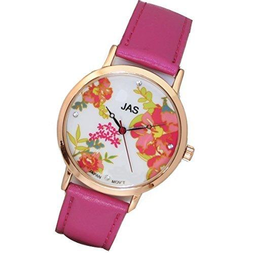Jas Armbanduhr Damen rose Fleurs