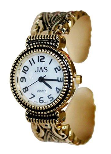 JAS Gold plattiert Damen Armband Armreif Metall Antik Markasit Stil zusaetzliche Uhrenbatterie