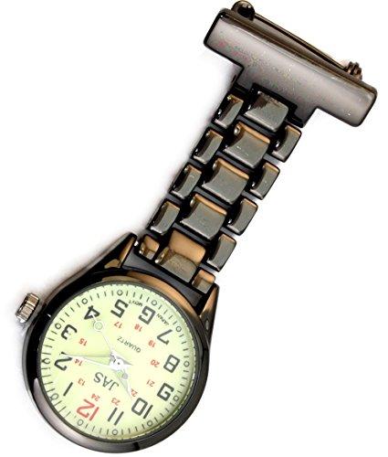 Jas Unisex Krankenschwestern Revers Armbanduhr Infektionskontrolle Metall Gunmetal mit Luminous