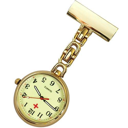 Krankenschwestern pin on Revers Armbanduhr Infektionskontrolle Metall D Gold mit Haenden Zifferblatt