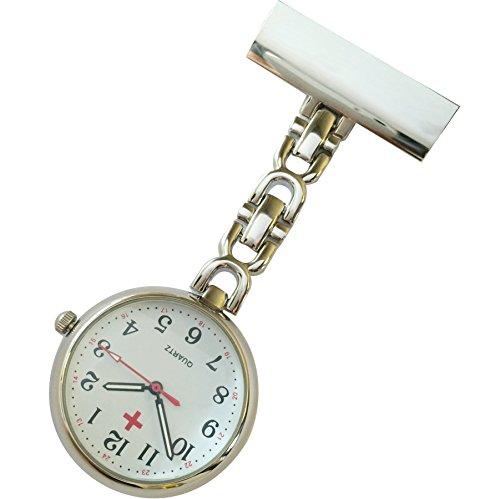 Krankenschwestern pin on Revers Armbanduhr Infektionskontrolle Metall D Silber mit weissem Zifferblatt