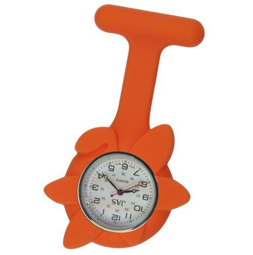 Krankenschwestern Revers Armbanduhr Silikon Infektionskontrolle orange Blume