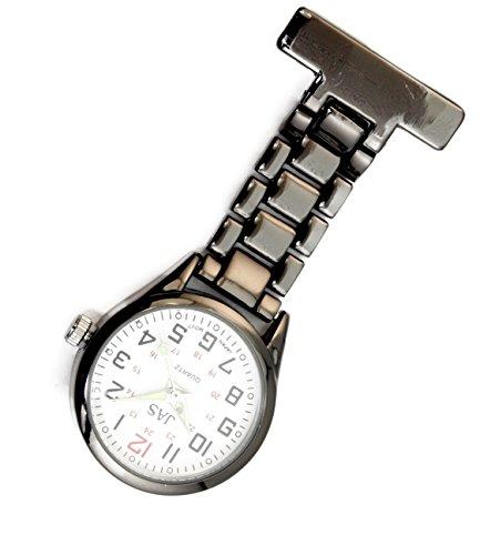 Jas Unisex Krankenschwestern Revers Armbanduhr Infektionskontrolle Metall Gunmetal mit Weiss