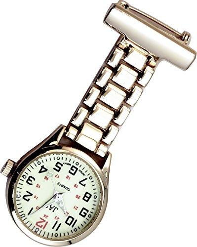 Jas Unisex Krankenschwestern Revers Armbanduhr Infektionskontrolle Metall Gold mit Luminous