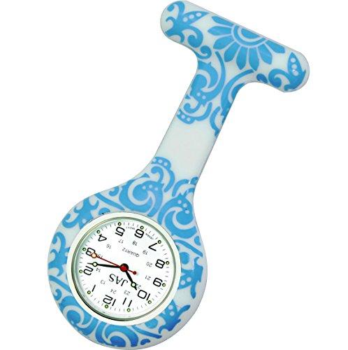 Jas Unisex Krankenschwestern Revers Armbanduhr Silikon Infektionskontrolle Brokat Muster Blau