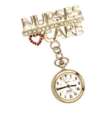 Jas Unisex Krankenschwestern Revers Armbanduhr Infektionskontrolle Metall Krankenschwestern Care Gold