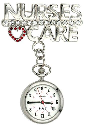 Jas Unisex Krankenschwestern Revers Armbanduhr Infektionskontrolle Metall Krankenschwestern Care silber