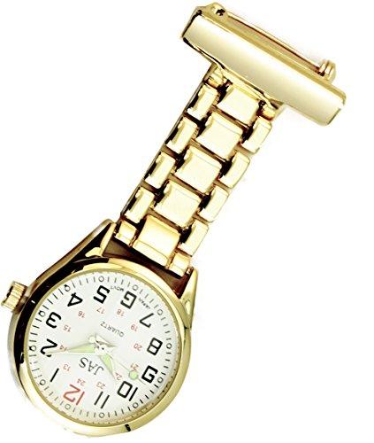 Jas Unisex Krankenschwestern Revers Armbanduhr Infektionskontrolle Metall Gold mit Weiss