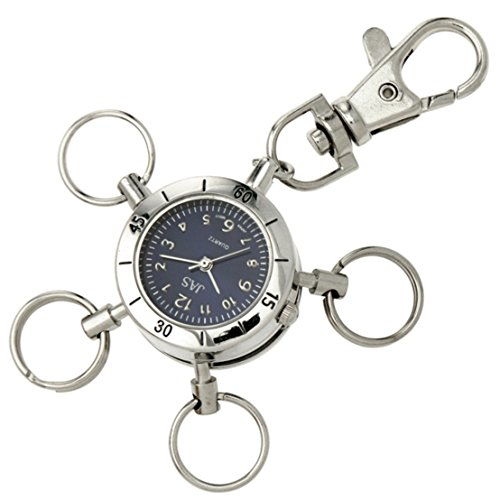 Jas Unisex Neuheit Guertel Schluesselanhaenger Armbanduhr Multi Schluesselanhaenger Key Ring Silber Ton