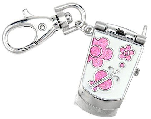 Jas Unisex Neuheit Guertel Schluesselanhaenger Schluesselanhaenger armbanduhr Pink Handy silber Ton