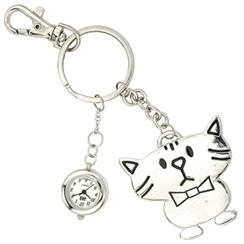 Jas Unisex Neuheit Guertel Schluesselanhaenger Schluesselanhaenger armbanduhr Cool Cat Silber Ton