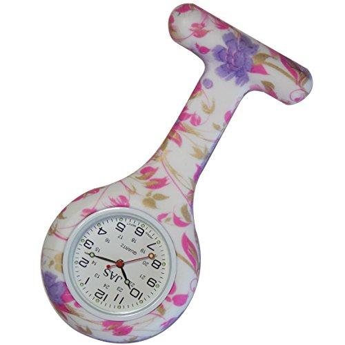 Watercolor Flower Patterned Krankenschwestern Revers Armbanduhr Silikon Infektionskontrolle