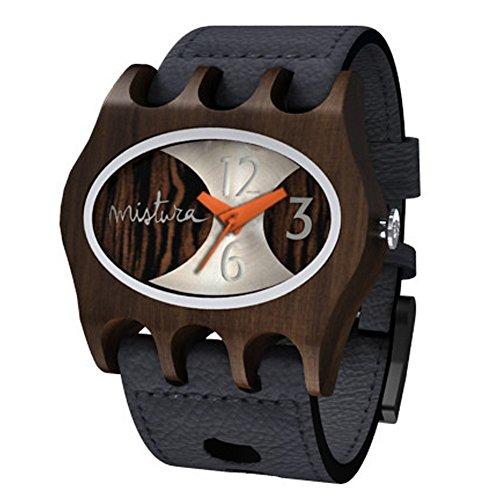 Mistura Handgefertigt Kamera Holzerne Analoge Armbanduhr Japanisches Quarzwerk Schwarz