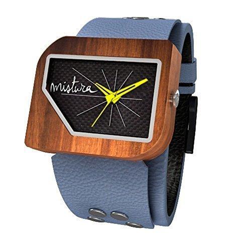 Mistura pellgreycf PUI Holz PELLICANO grau Kohlefaser Armbanduhr