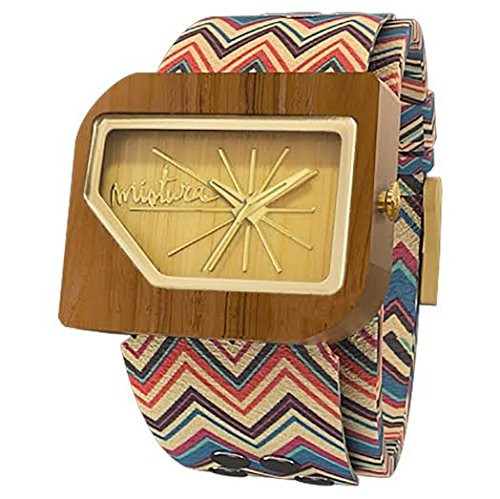 Mistura pellicanoaztecbambgld Herren Mehrfarbig echtes Leder Band Holz Zifferblatt Armbanduhr