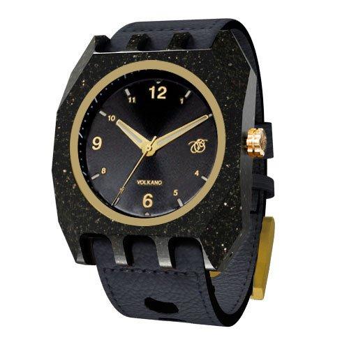 Mistura volkanoarkblkblk Herren Holz schwarz Leder Band Schwarz Zifferblatt Armbanduhr