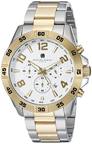 charles hubert Paris Herren 3977 t Premium Collection Analog Display Japanisches Quarz Zweifarbige Armbanduhr