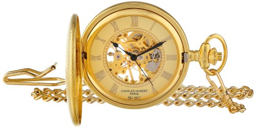 Charles Hubert Paris 50mm Gehaeuse Messing Handaufzug Zifferblatt Gold 3861 G