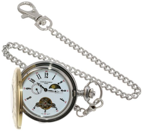 Charles Hubert Paris Stainless Steel Two Tone Mechanische Taschenuhr