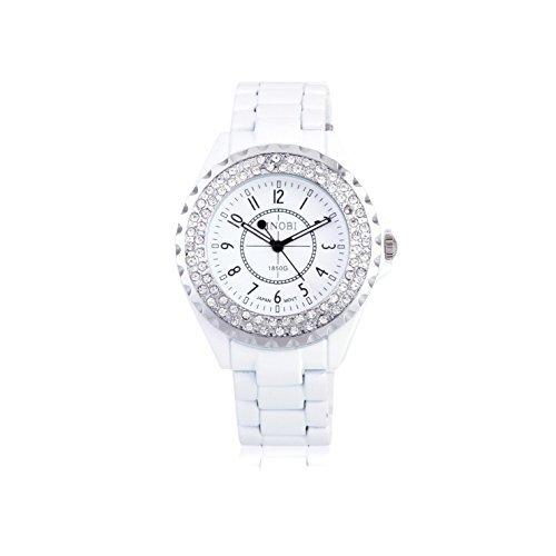 Damara Edelstahl Glaenzend Strass Schick Elegant Optisch Damenarmbanduhr Armbanduhr