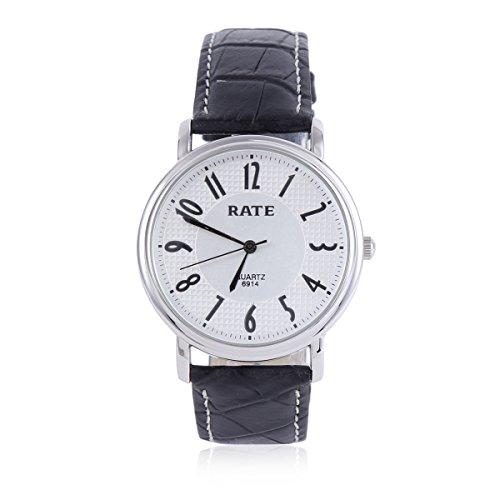 Damara Edelstahl Kunstleder Einfach Rund Herrenarmbanduhr Armbanduhr