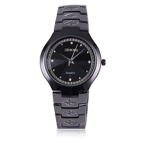 Damara Edelstahl Muster Ruesche Strass Optisch Damenarmbanduhr Armbanduhr