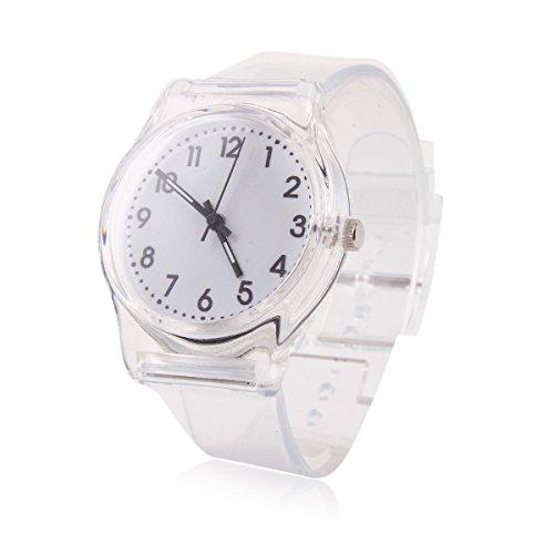 Damara Einfache Unisex Kinder Einfarbig Digital Armbanduhr Weiss