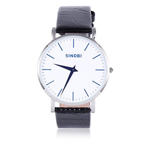 Damara Edelstahl Kunstleder Blaue Gradeinteilung Gentleman Herrenarmbanduhr Armbanduhr