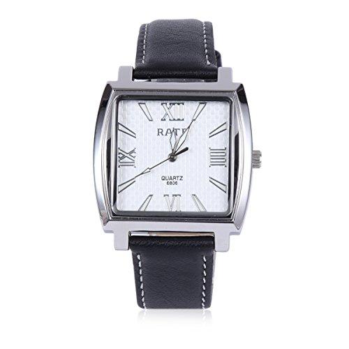 Damara Edelstahl Kunstleder Roemische Ziffern Quadrangel Klassisch Herrenarmbanduhr Armbanduhr