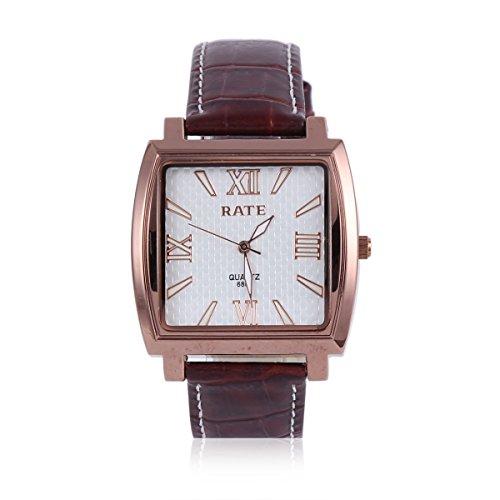 Damara Edelstahl Kunstleder Quadrangel Roemische Ziffern Klassisch Herrenarmbanduhr Armbanduhr