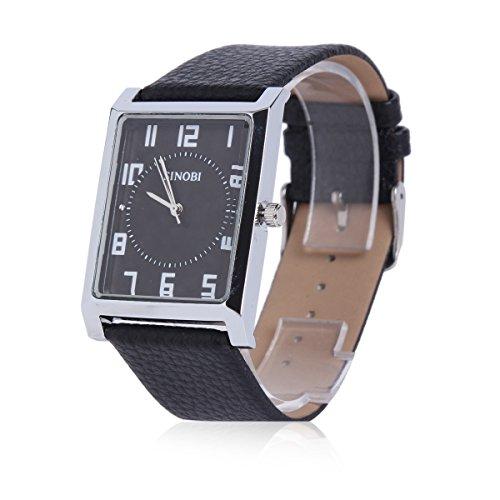 Damara Edelstahl Kunstleder Quadrangel Einfach Klassisch Business Herrenarmbanduhr Armbanduhr