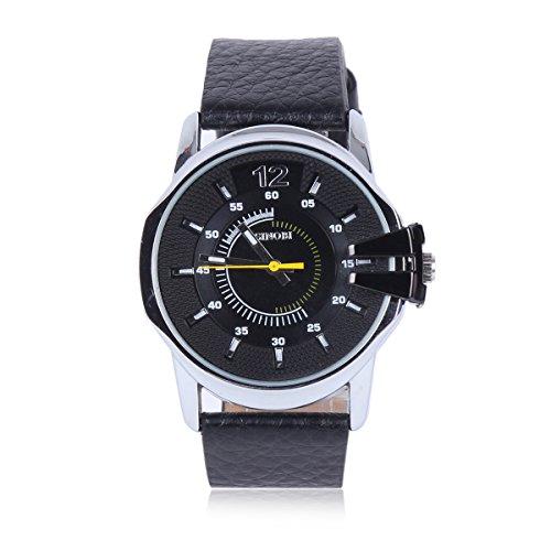 Damara Edelstahl Kunstleder Wunderschoen Optisch Herrenarmbanduhr Armbanduhr