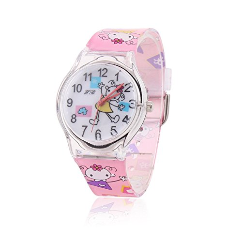 Damara Maedchen Cartoon Digital Chic Sommer Pink Armbanduhr