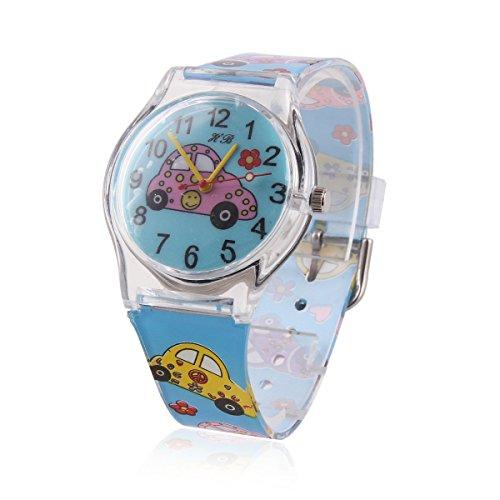 Damara Maedchen Blau Digital Armbanduhr Mit Buntfarbig Auto Gebild