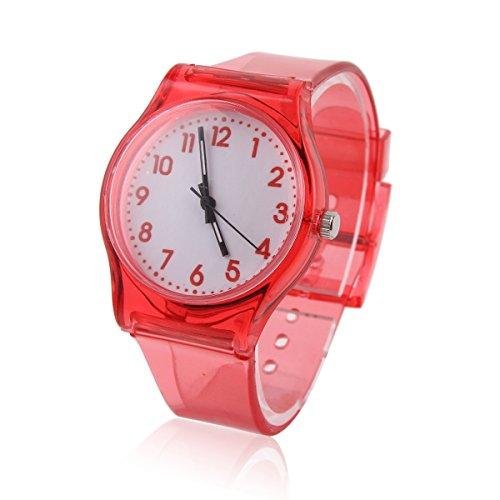 Damara Unisex Kinder Digital Transparente Chic Armbanduhr Rot