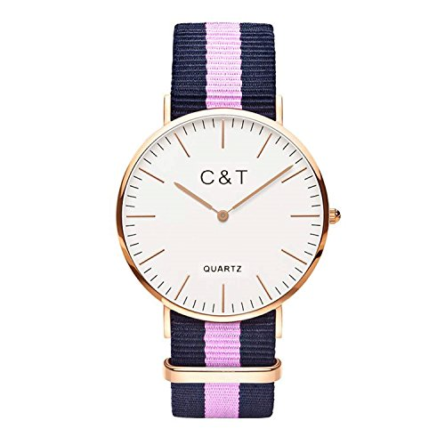 C T Watch Armbanduhr C1T Gold Nylon Nato Strap Marine Rosa