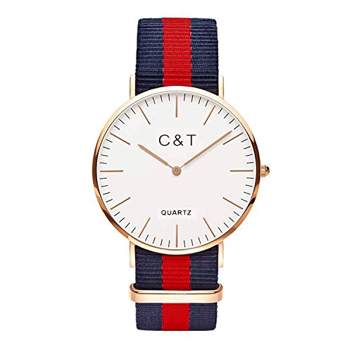 C T Watch Armbanduhr C6T Gold Nylon Nato Strap Marine Rot