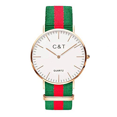 C T Watch CT 9 Armbanduhr Gold Nylon Nato Strap Rot Hellgruen