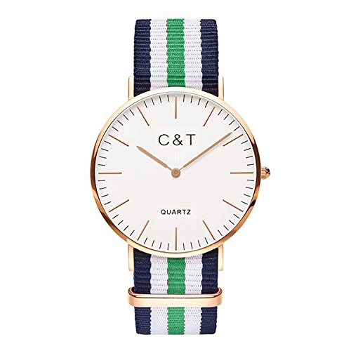 C T Watch CT 4 Armbanduhr Gold Nylon Nato Strap Marine Gruen