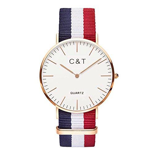 C T Watch Armbanduhr C3T Gold Nylon Nato Strap Rot Weiss Marine
